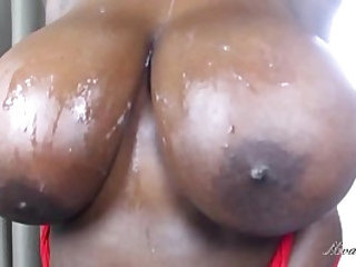 big busty ebony tits get cum all over them