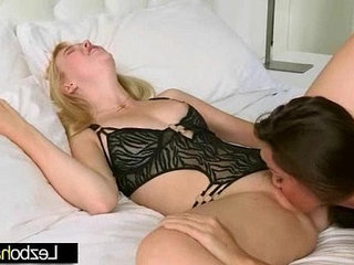 Sexy girls make love scene on tape clip