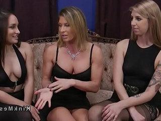 Threesome anal strap on fucking