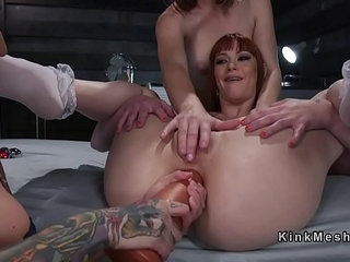 Lesbian slave gets fucked deep anal penetration