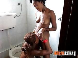 Cute Ebony Lesbian Teens Eat Pussy In Public Bathroom