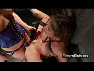 Electro nipples clamped babe anal fisted by two female friends
